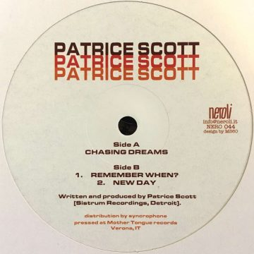 """Patrice Scott Chasing Dreams vinyl record white cover side A, 12"""""""