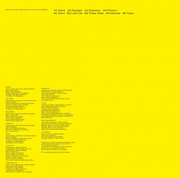 astrid engberg's yellow back cover of the tulpa lp album with all the tracks like oasis, tulpa, daylight