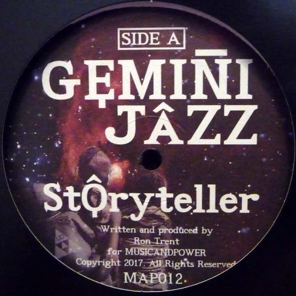 Side A of the Gemini Jazz vinyl record by Ron Trent - record: storyteller