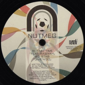 """Nutmeg """"Take Time"""" and """"Stab"""" vinyl record cover Side B, 12"""""""