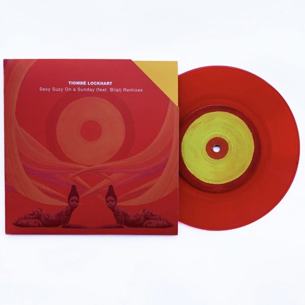 """Side A of the 7"""" limited edition transparent red version of sexy suzy on a sunday by tiombé lockhart"""
