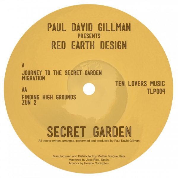 back cover of the first vinyl record by Paul David Gillman pres. Red Earth Design in Secret Garden