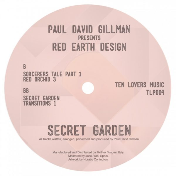 back cover with the tracklist of secret garden vinyl record by paul david gillman