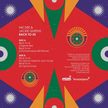 back cover of Mizz Dee feat. Jackie Queens' Back To Us vinyl record with the tracklist (ft. Dj Spinna, galactic soul remix)