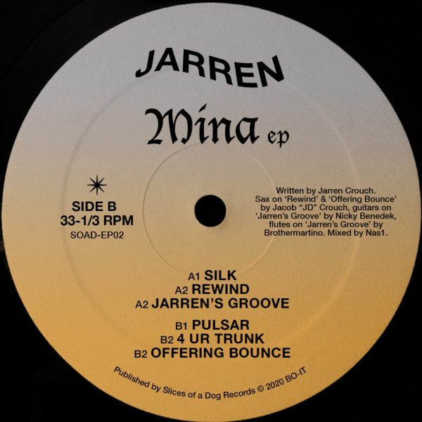 back cover side b MINA EP by Jarren with the tracklist (silk included). house and electronic music vinyl