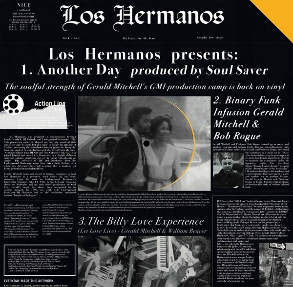 side a of the los hermanos' vinyl record, tracks: another day, binary funk infusion, let love live