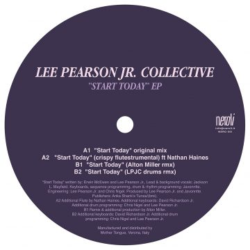 Start Today EP vinyl record by Lee Pearson Jr. Collective side b black back cover with tracklist