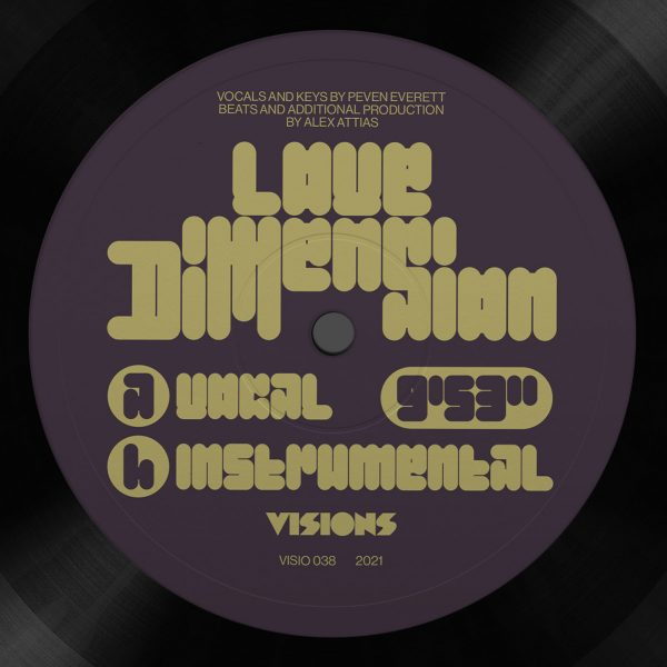 back cover with the tracklist of love dimension vinyl record by Alex Attias and peven everett