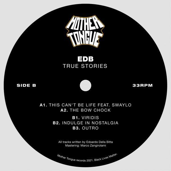 black vinyl with the tracklist of edb's true stories