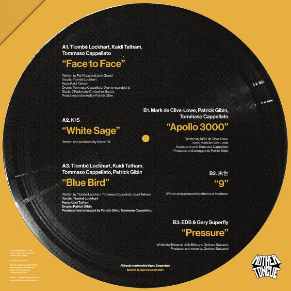 yellow back cover tracklist of madre lingua lp from mother tongue records
