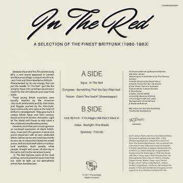 in the red vinyl record album by various artists back cover side b tracklist of a selection of brit funk music