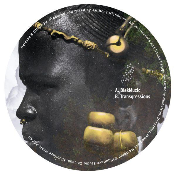 back cover of anthony nicholson blakmuzic ep vinyl record tracklist blakmuzic and transgression